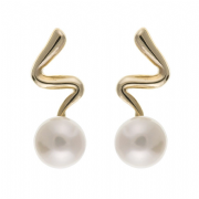 9ct gold Freshwater Pearl squiggle stud earrings